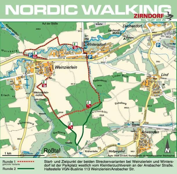 Grossansicht in neuem Fenster: Karte Nordic Walking